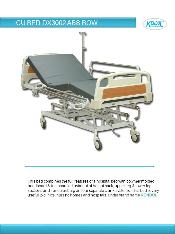 This bed combines the full features of a hospital bed with polymer molded headboard & footboard adjustment of height back, upper leg & lower leg secti