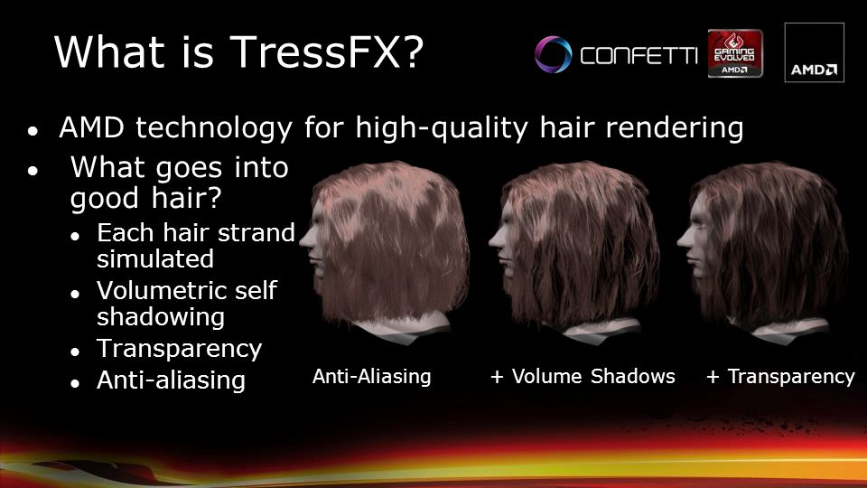 What is TressFX? Anti-Aliasing+ Volume Shadows+ Transparency What goes into good hair? Each hair strand simulated Volumetric self shadowing Transparen