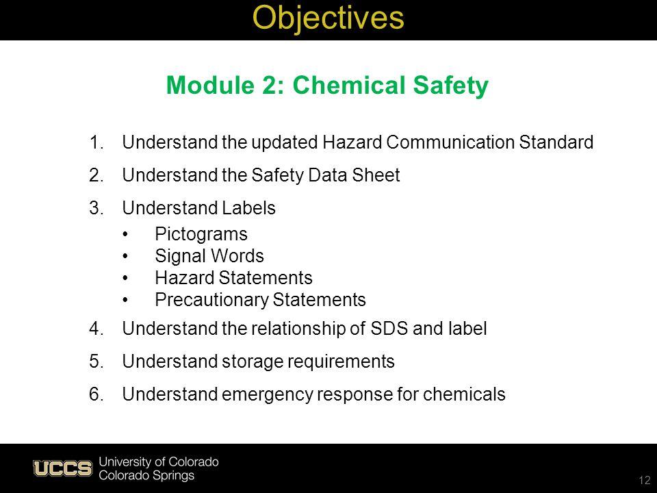 12 1.Understand the updated Hazard Communication Standard 2.Understand the Safety Data Sheet 3.Understand Labels Pictograms Signal Words Hazard Statem