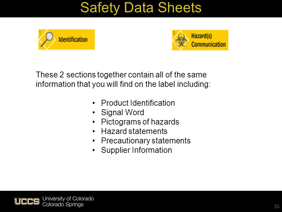 35 These 2 sections together contain all of the same information that you will find on the label including: Product Identification Signal Word Pictogr