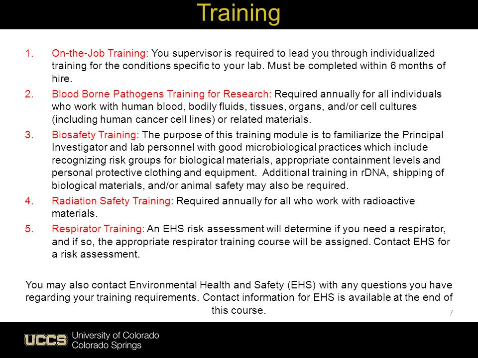 Live Green Training For all staff, faculty, instructors, student employees who work or teach in a lab / anyone who will handle hazardous chemicals or hazardous waste Complete your initial chemical safety and hazardous waste management training within 30 days of hire by taking the web- based Safety in the Laboratory course Complete an on-the-job training (OJT) form within 6 months of hire.