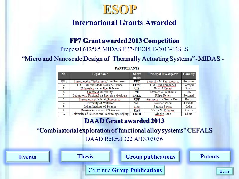 ESOP International Grants Awarded FP7 Grant awarded 2013 Competition Proposal 612585 MIDAS FP7-PEOPLE-2013-IRSES Micro and Nanoscale Design of Thermal