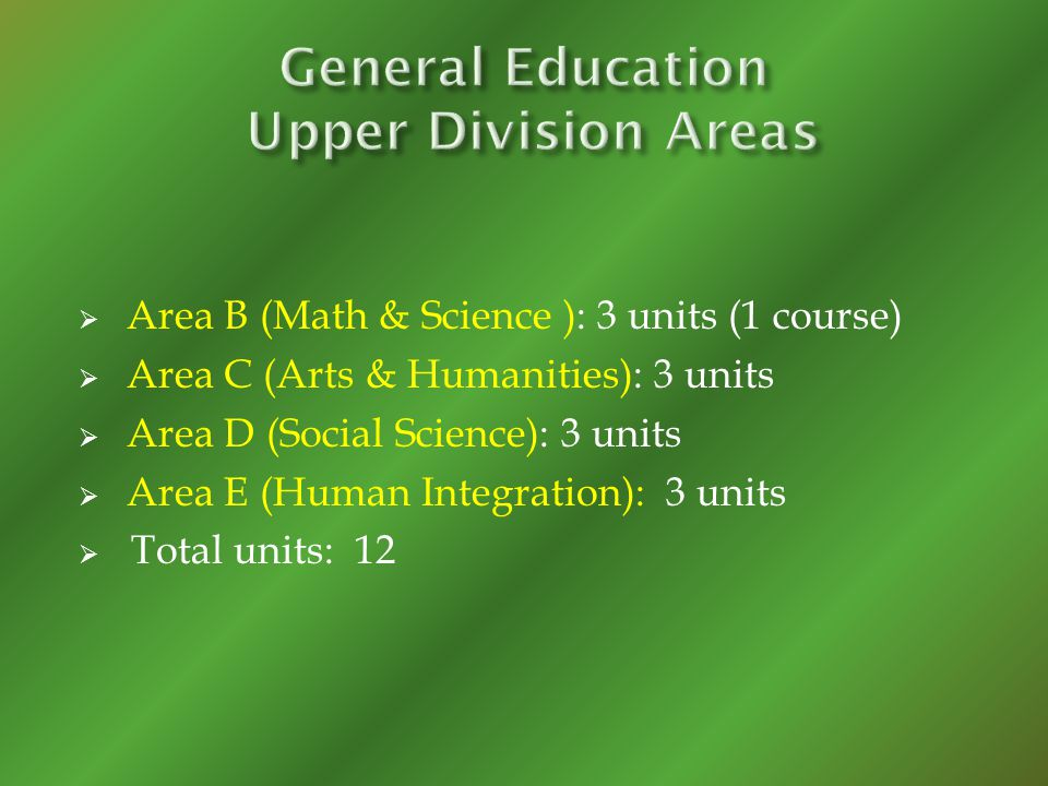 Area B (Math & Science ): 3 units (1 course) Area C (Arts & Humanities): 3 units Area D (Social Science): 3 units Area E (Human Integration): 3 units Total units: 12