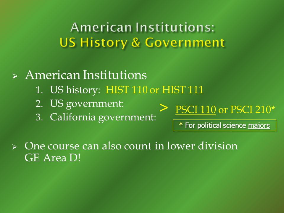 American Institutions 1. US history: HIST 110 or HIST 111 2.