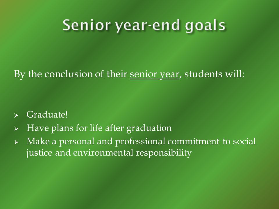 By the conclusion of their senior year, students will: Graduate.