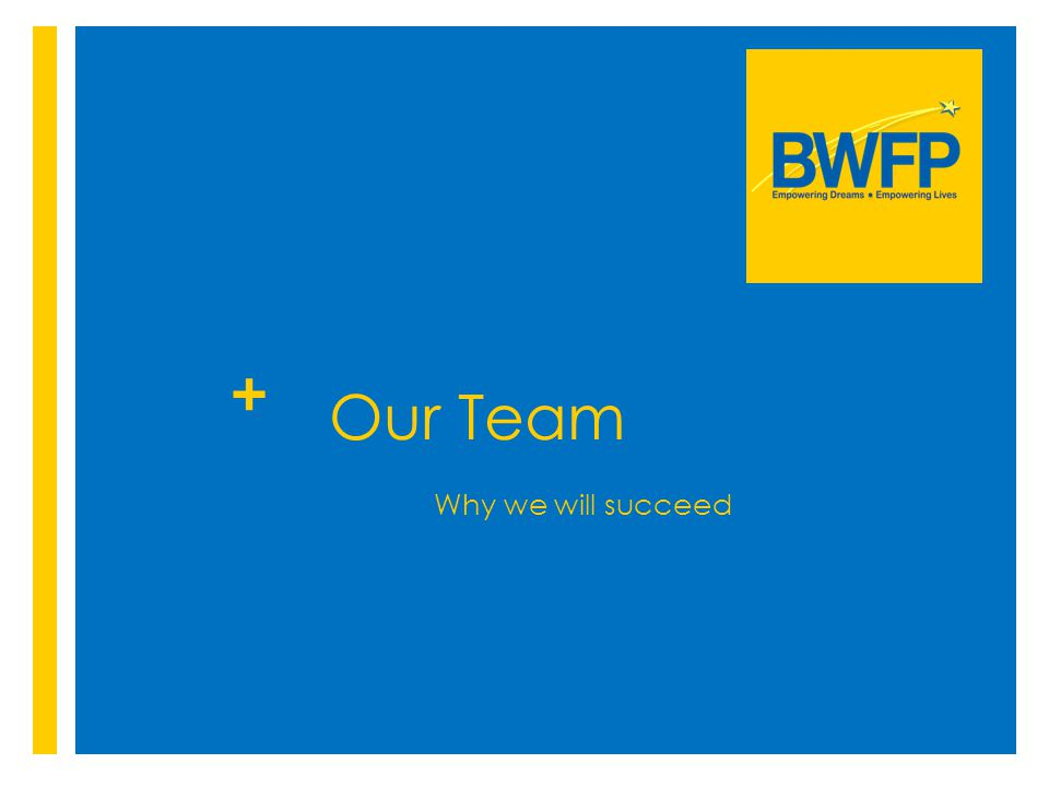 + Our Team Why we will succeed