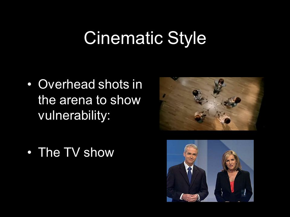 Overhead shots in the arena to show vulnerability: The TV show