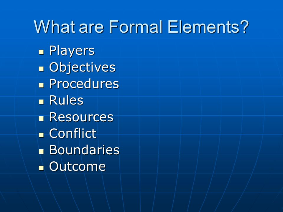 What are Formal Elements.