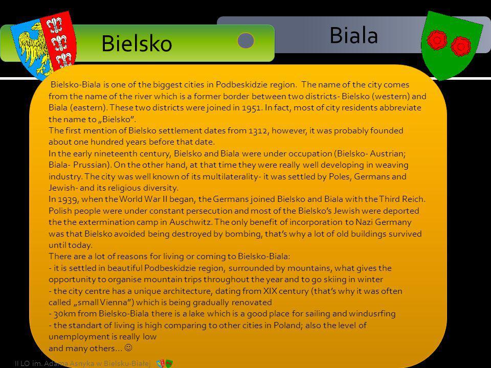 Biala Bielsko City Area 124,51 km² Area 124,51 km² Mayor Jacek Krywult Mayor Jacek Krywult Population (2009) 175,513 Voivodeship Silesian Voivodeship