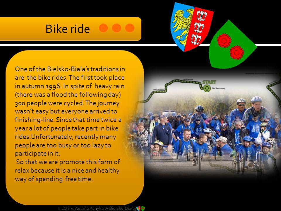 One of the Bielsko-Bialas traditions in are the bike rides. The first took place in autumn 1996. In spite of heavy rain (there was a flood the followi
