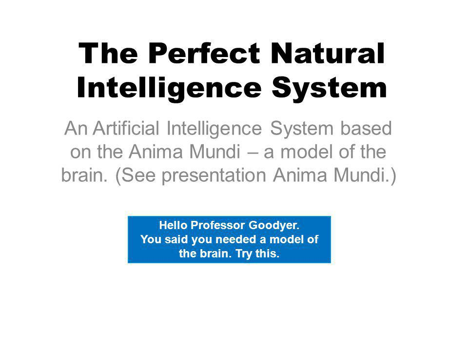 The Perfect Natural Intelligence System An Artificial Intelligence System based on the Anima Mundi – a model of the brain.