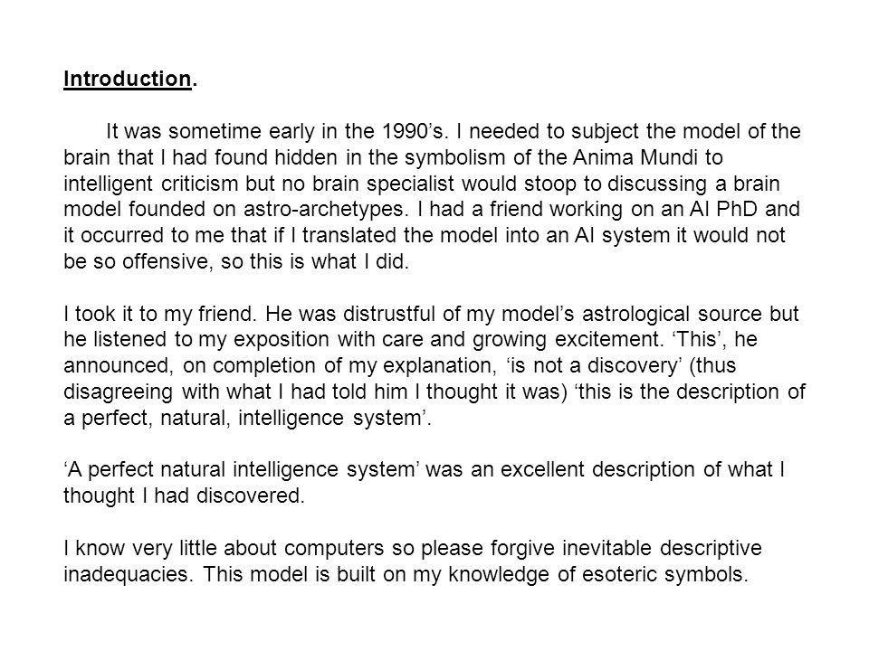 Introduction. It was sometime early in the 1990s. I needed to subject the model of the brain that I had found hidden in the symbolism of the Anima Mun