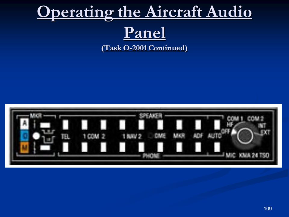 Operating the Aircraft Audio Panel (Task O-2001 Continued) 109