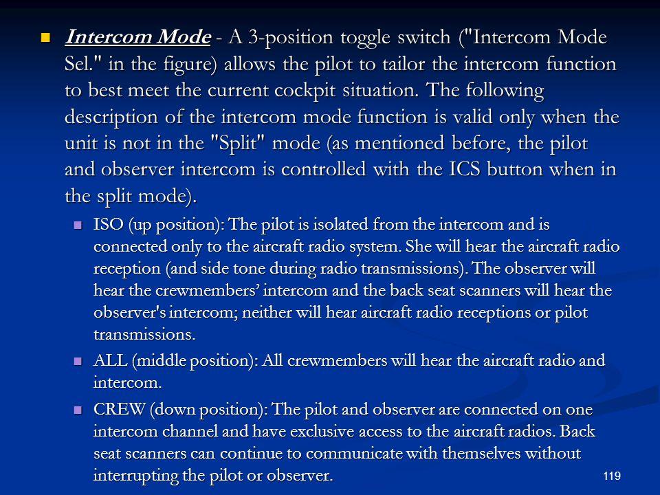 Intercom Mode - A 3-position toggle switch (