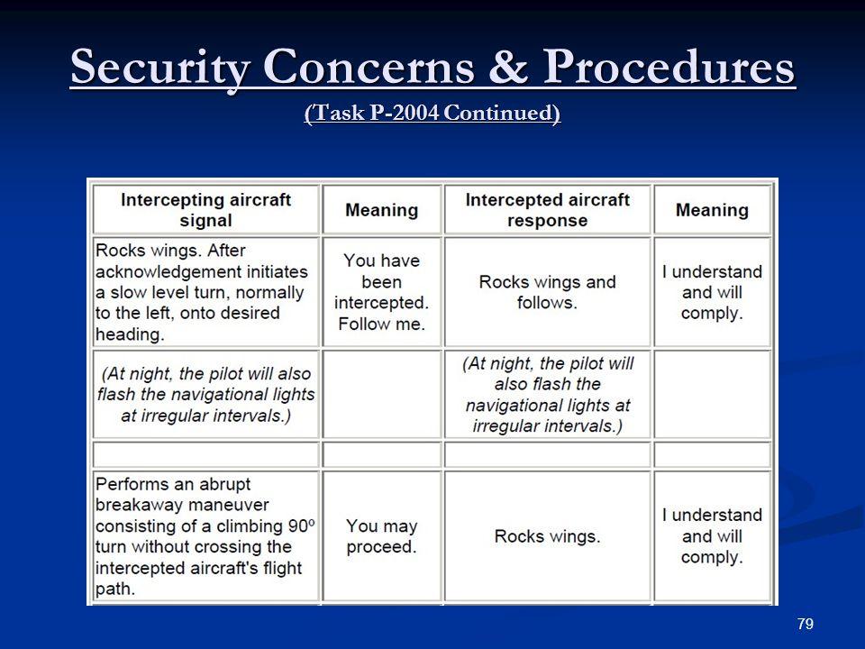 Security Concerns & Procedures (Task P-2004 Continued) 79
