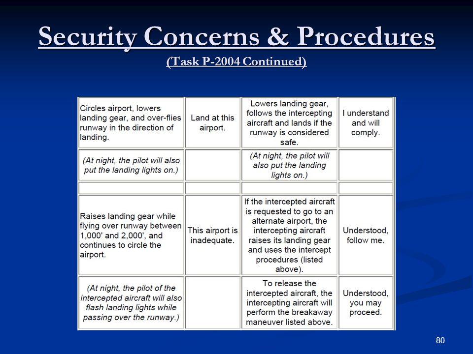 Security Concerns & Procedures (Task P-2004 Continued) 80