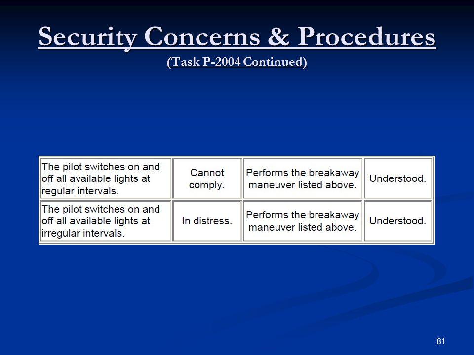 Security Concerns & Procedures (Task P-2004 Continued) 81