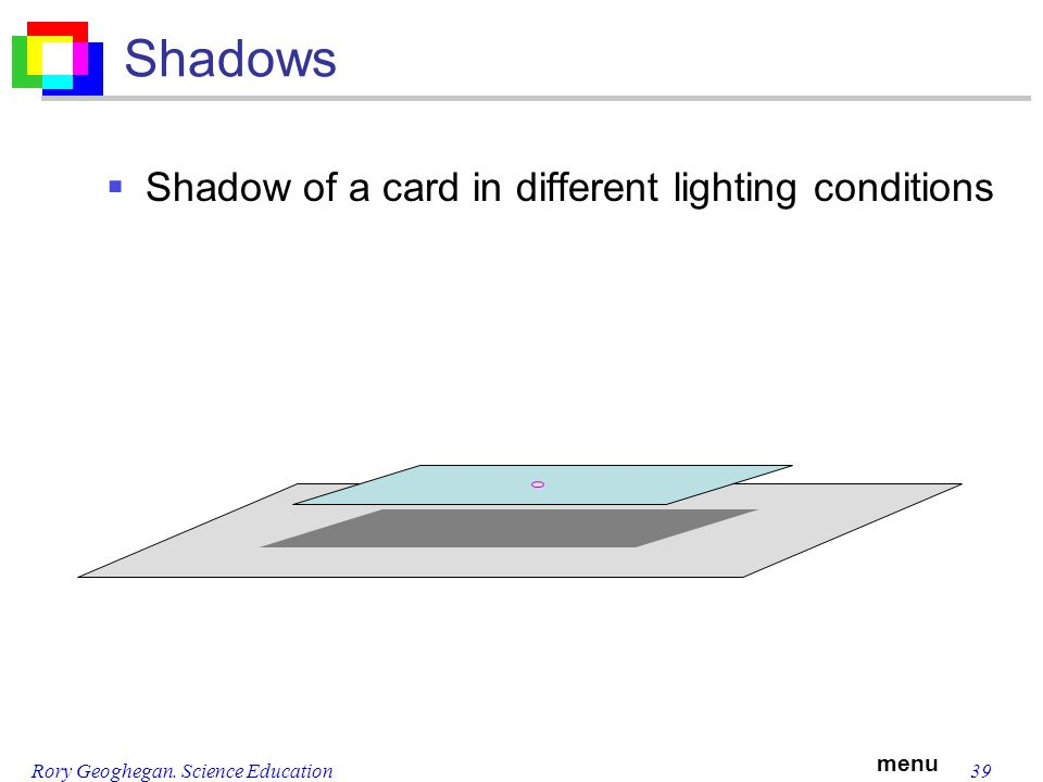 menu Rory Geoghegan. Science Education39 Shadows Shadow of a card in different lighting conditions
