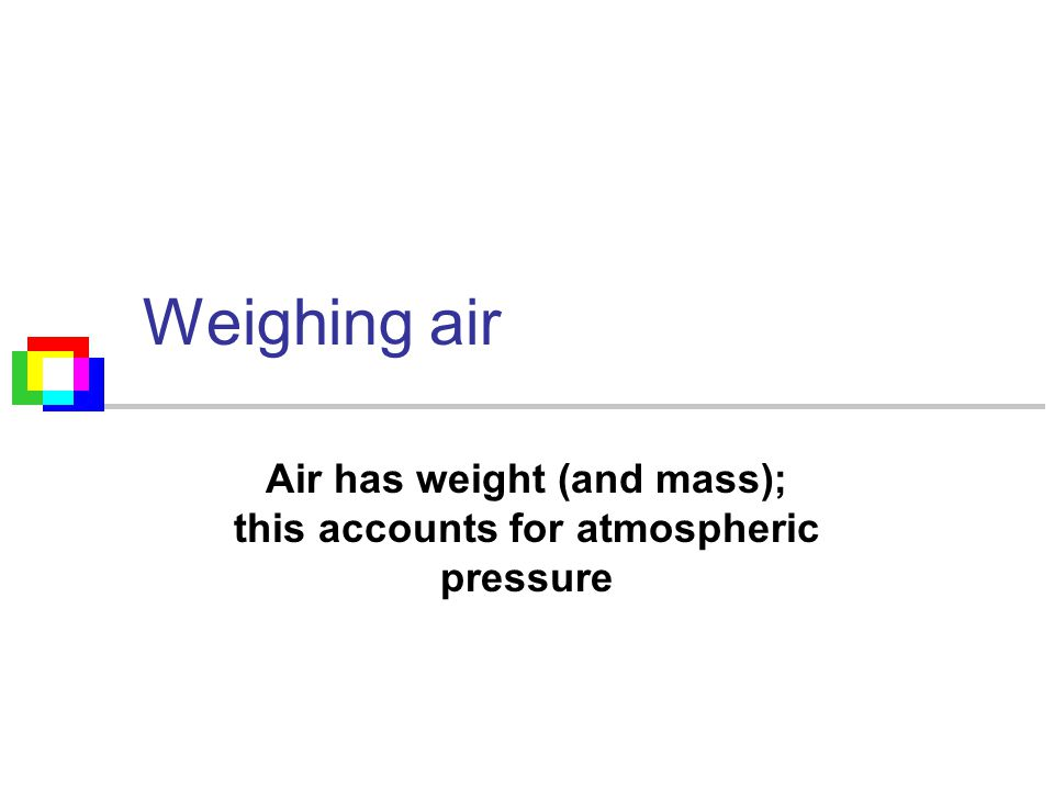 Weighing air Air has weight (and mass); this accounts for atmospheric pressure