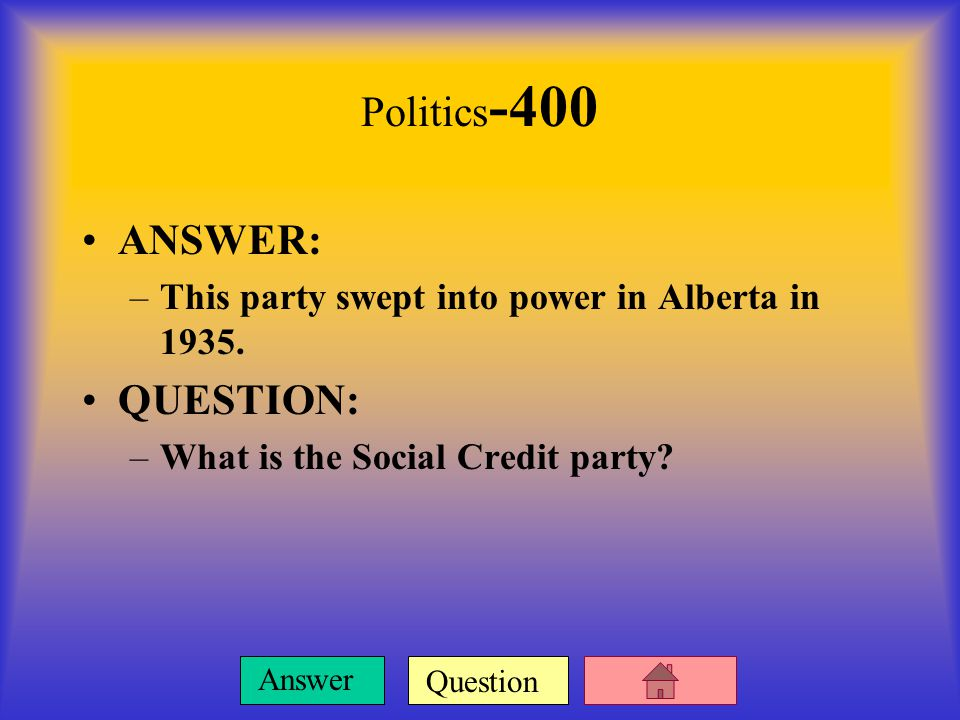 Question Answer Politics -300 ANSWER: –A number of farmers formed this federal political party of their own.