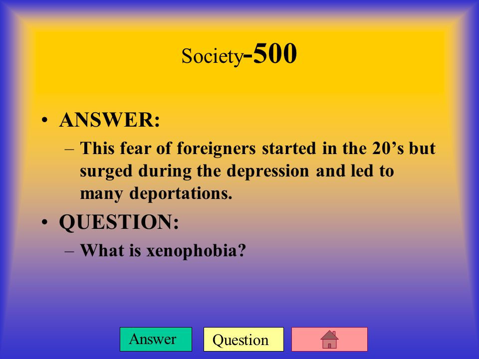 Question Answer Society -400 ANSWER: –Emergency financial assistance given to some of the unemployed to keep them from starving.