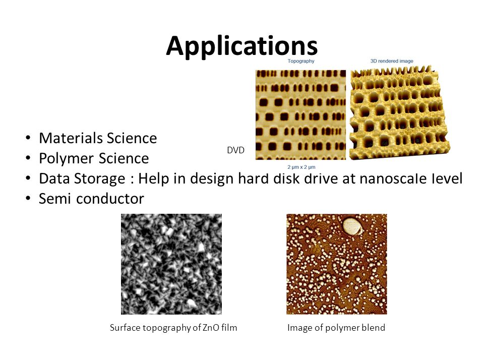 Materials Science Polymer Science Data Storage : Help in design hard disk drive at nanoscale level Semi conductor Surface topography of ZnO filmImage