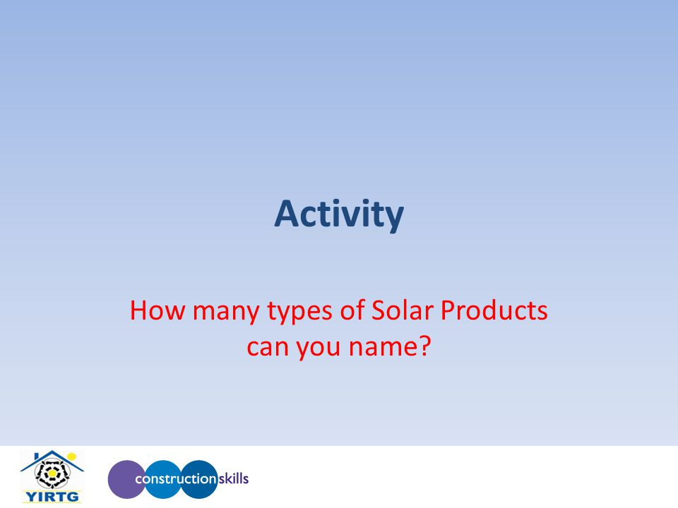 Activity How many types of Solar Products can you name