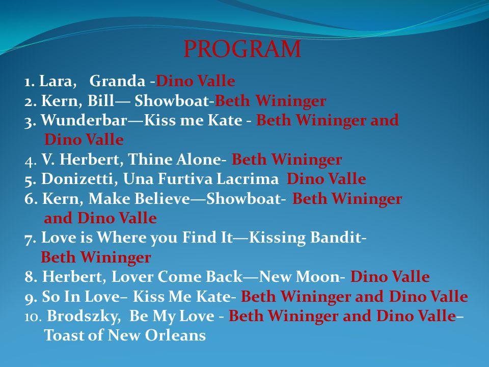 1. Lara, Granda -Dino Valle 2. Kern, Bill Showboat-Beth Wininger 3. WunderbarKiss me Kate - Beth Wininger and Dino Valle 4. V. Herbert, Thine Alone- B