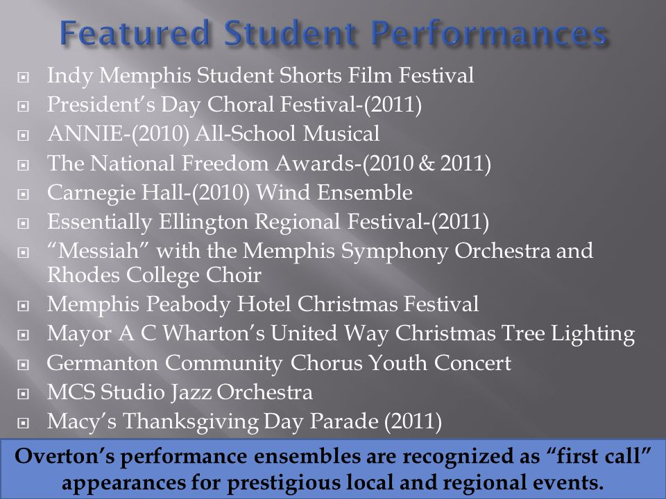 Indy Memphis Student Shorts Film Festival Presidents Day Choral Festival-(2011) ANNIE-(2010) All-School Musical The National Freedom Awards-(2010 & 2011) Carnegie Hall-(2010) Wind Ensemble Essentially Ellington Regional Festival-(2011) Messiah with the Memphis Symphony Orchestra and Rhodes College Choir Memphis Peabody Hotel Christmas Festival Mayor A C Whartons United Way Christmas Tree Lighting Germanton Community Chorus Youth Concert MCS Studio Jazz Orchestra Macys Thanksgiving Day Parade (2011) Overtons performance ensembles are recognized as first call appearances for prestigious local and regional events.