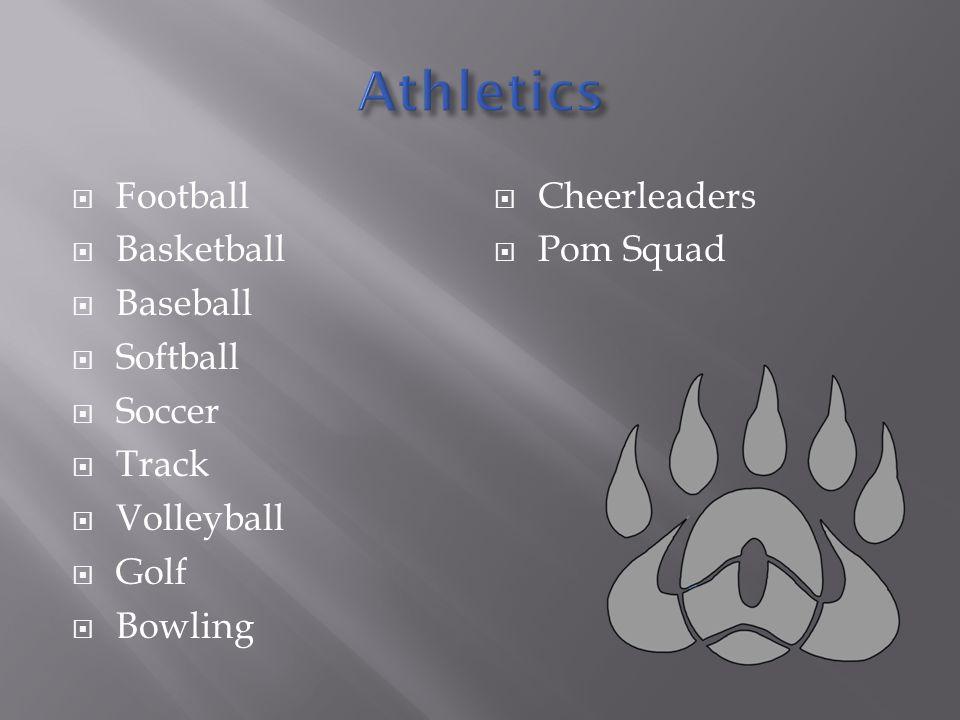 Football Basketball Baseball Softball Soccer Track Volleyball Golf Bowling Cheerleaders Pom Squad