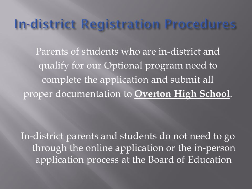 Parents of students who are in-district and qualify for our Optional program need to complete the application and submit all proper documentation to Overton High School.