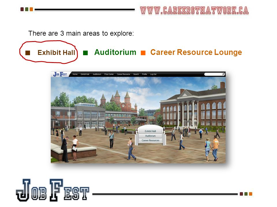 Exhibit Hall Auditorium Career Resource Lounge There are 3 main areas to explore: