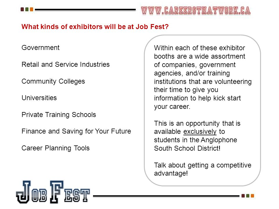What kinds of exhibitors will be at Job Fest.