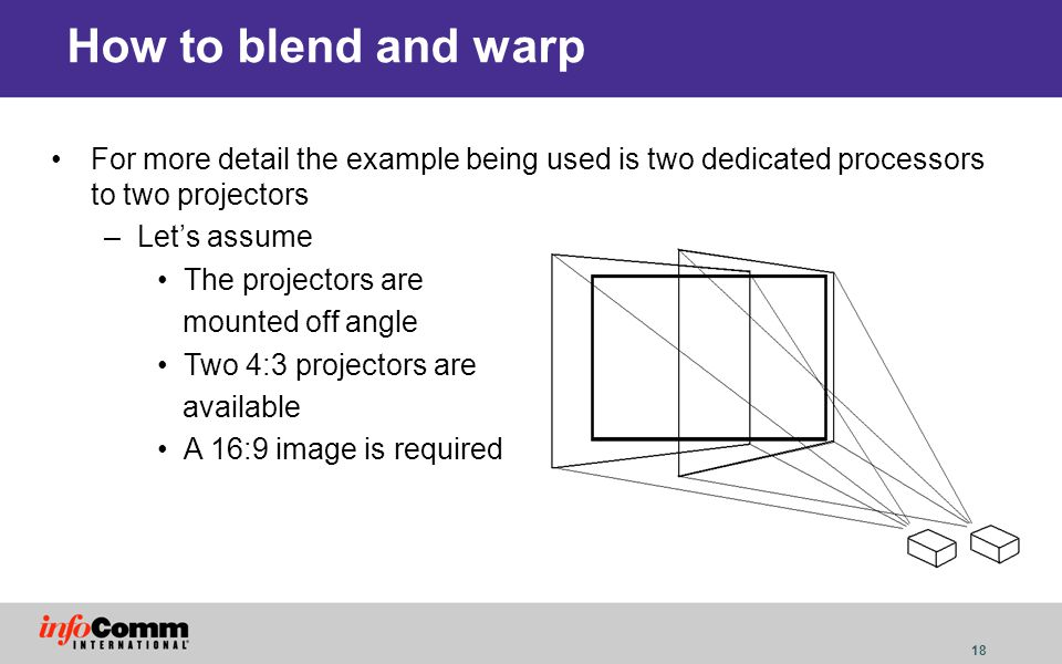 18 How to blend and warp For more detail the example being used is two dedicated processors to two projectors –Lets assume The projectors are mounted