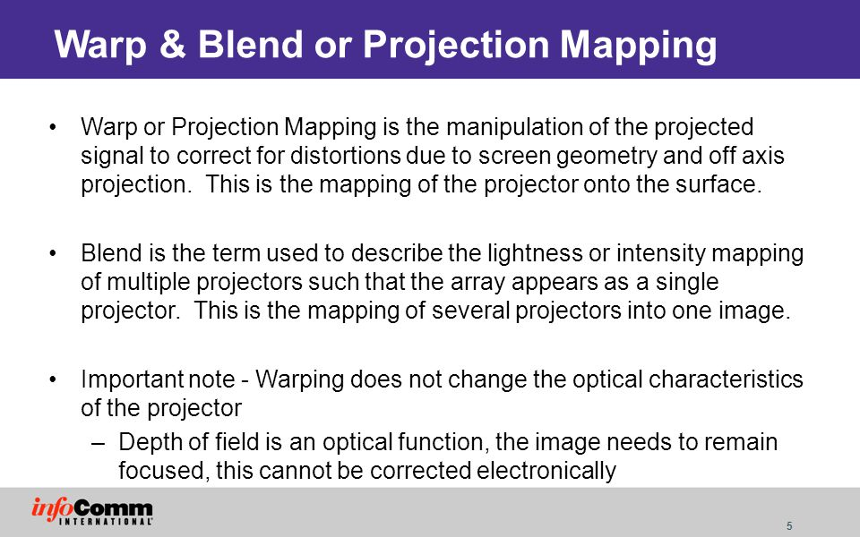 16 Blend and Warp – Option 3 Modify the source material within the projector –Some high end projectors now offer this option –Option stays with projector Requires expensive projector options Limited projector choice Hard to transition to alternative projectors Range of adjustment usually limited User interface to control warping is usually rudimentary