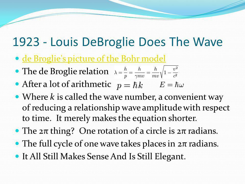 French Finally Explain Something, Rest Of World Astounded. Since electrons act like waves, perhaps the discrete orbits they inhabit must have the circ