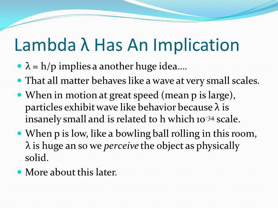 Lambda λ Has An Implication λ = h/p implies a another huge idea….