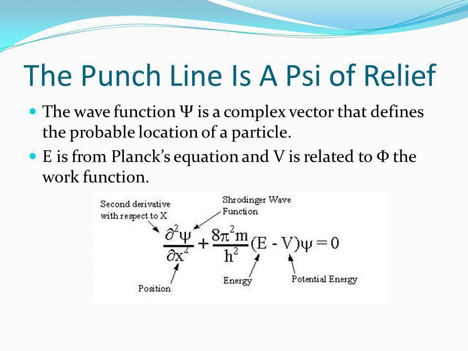 The Punch Line Is A Psi of Relief The wave function Ψ is a complex vector that defines the probable location of a particle.