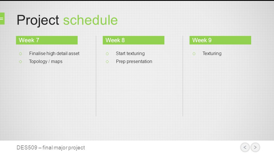 Project schedule DES509 – final major project o Finalise high detail asset o Topology / maps o Start texturing o Prep presentation o Texturing Week 8Week 9 Week 7