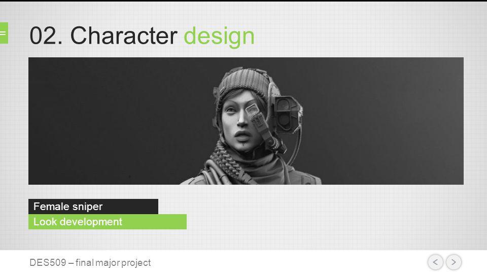 02. Character design Female sniper variations DES509 – final major project