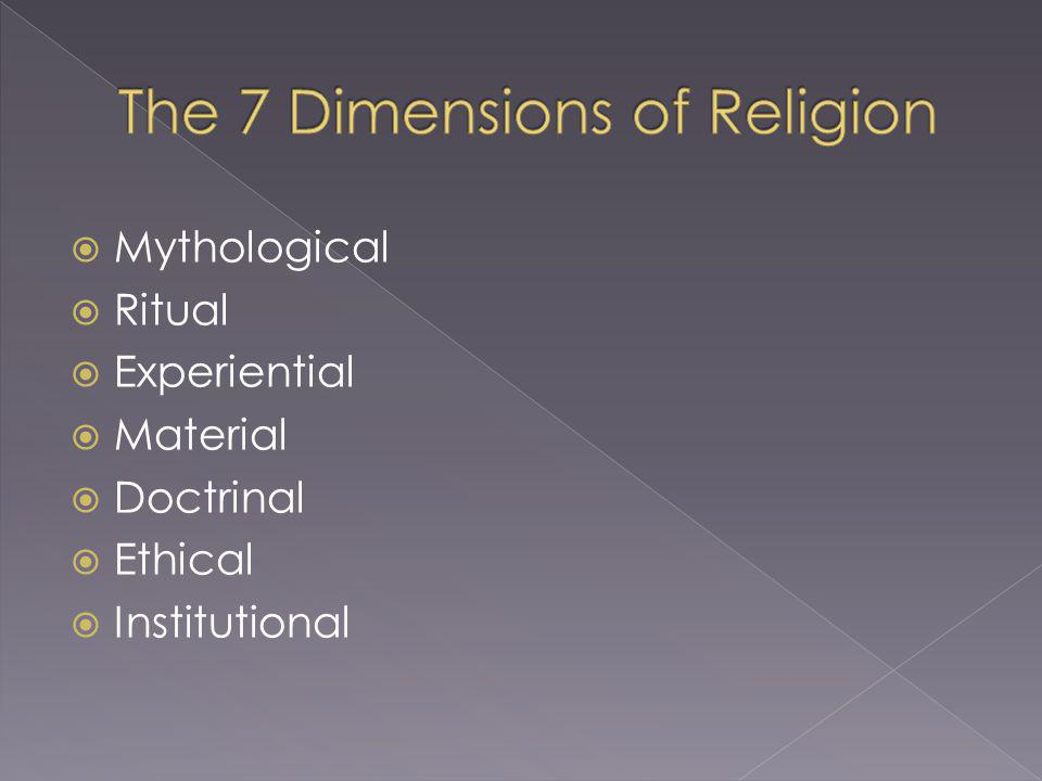 Mythological Ritual Experiential Material Doctrinal Ethical Institutional