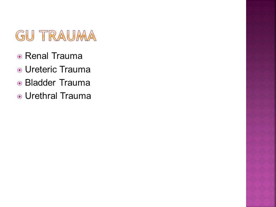 Renal Trauma Ureteric Trauma Bladder Trauma Urethral Trauma