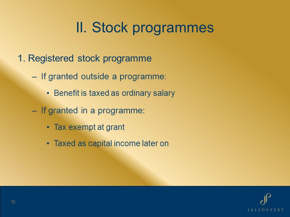 II. Stock programmes 1.