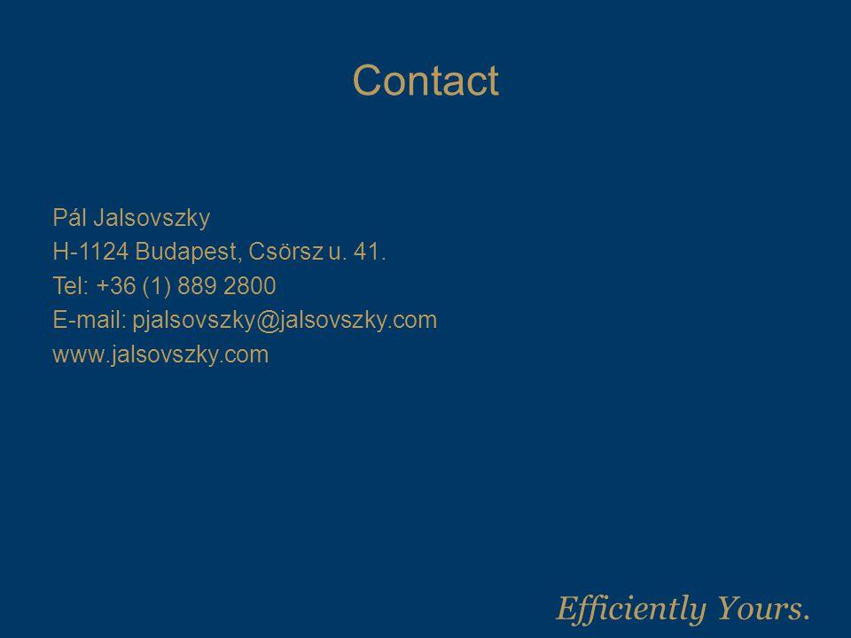 Contact Pál Jalsovszky H-1124 Budapest, Csörsz u. 41.
