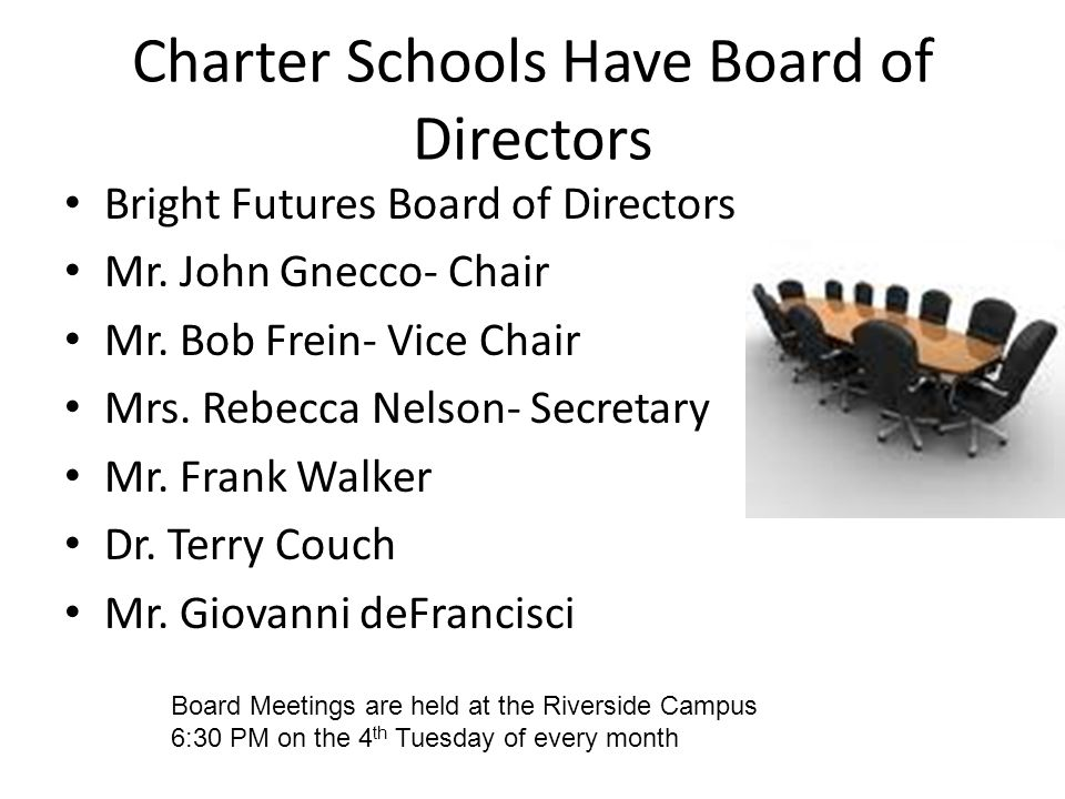 Charter Schools Have Board of Directors Bright Futures Board of Directors Mr. John Gnecco- Chair Mr. Bob Frein- Vice Chair Mrs. Rebecca Nelson- Secret