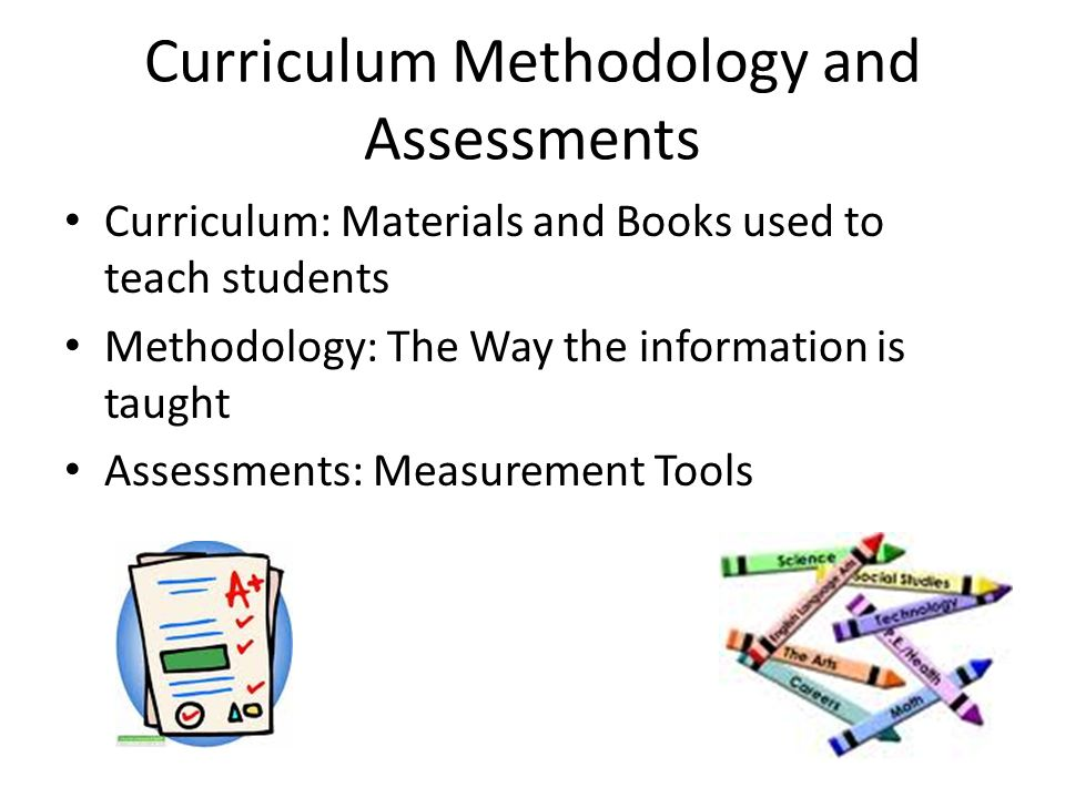 Curriculum Methodology and Assessments Curriculum: Materials and Books used to teach students Methodology: The Way the information is taught Assessmen