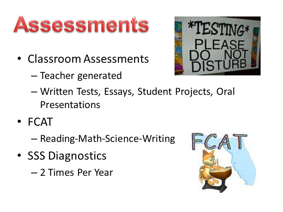 Classroom Assessments – Teacher generated – Written Tests, Essays, Student Projects, Oral Presentations FCAT – Reading-Math-Science-Writing SSS Diagno