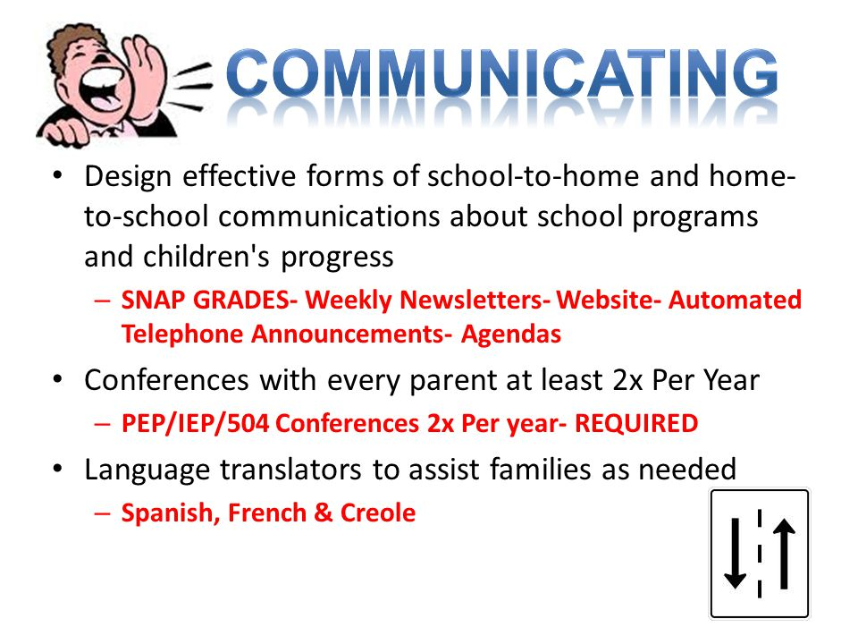 Design effective forms of school-to-home and home- to-school communications about school programs and children's progress – SNAP GRADES- Weekly Newsle