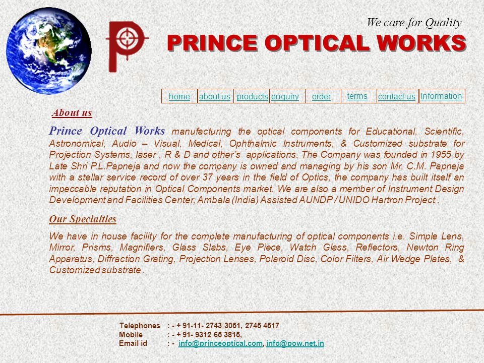 About us Prince Optical Works manufacturing the optical components for Educational, Scientific, Astronomical, Audio – Visual, Medical, Ophthalmic Inst