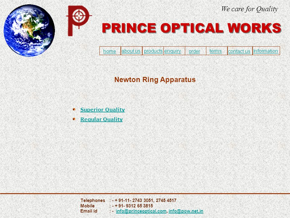Superior Quality Regular Quality Newton Ring Apparatus PRINCE OPTICAL WORKS We care for Quality home about usproducts ordercontact us enquiry termsInf